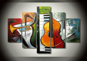 Violin Painting, Harp, Electronic Organ Painting, 5 Piece Abstract Wall Art, Extra Large Art