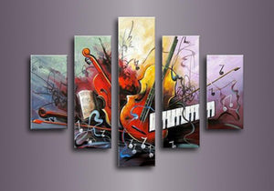 Guitar Painting, Violin Painting, Electronic Organ Painting, 5 Piece Modern Wall Art, Extra Large Art