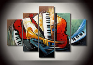 Electronic Organ Painting, Horn, Violin Painting, 5 Piece Modern Wall Art, Extra Large Painting