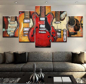 5 Piece Abstract Art, Guitar Painting, Extra Large Canvas Art, Abstract Art, Musical Instrument Painting