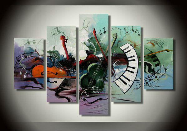 Abstract Painting, Violin, Electronic organ Painting, 5 Piece Abstract Wall Art, Musical Instrument Painting
