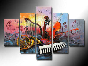 Electronic organ Painting, Abstract Painting, Violin, Saxophone, Harp, 5 Piece Abstract Wall Art