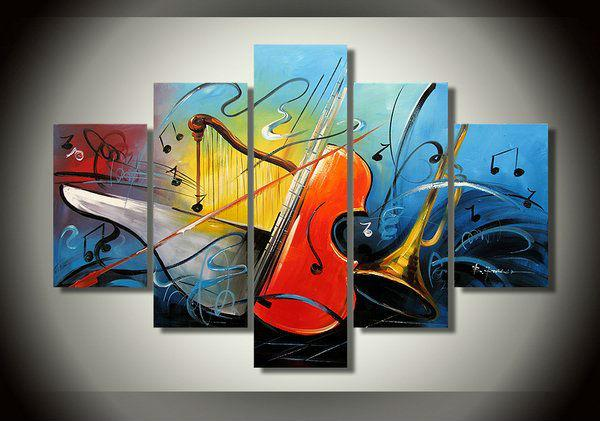 Abstract Painting, Electronic organ Painting, Violin Painting, Harp, 5 Piece Abstract Wall Art