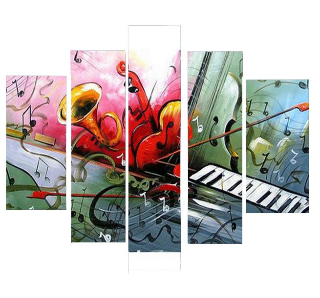 Violin Painting, Bedroom Abstract Painting, Electronic Organ Painting, 5 Piece Canvas Art
