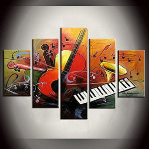 5 Piece Canvas Art, Violin Musical Instruction Painting, Abstract Painting, Electronic Organ Painting