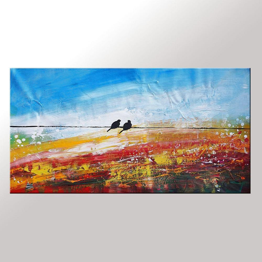 Modern Art, Love Birds Painting, Art for Sale, Abstract Art Painting, Bedroom Wall Art, Canvas Artwork