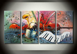 Horn, Violin Painting, Abstract Painting, Musical Instrument Painting, 4 Panel Art Painting, Abstract Art, Living Room Wall Art