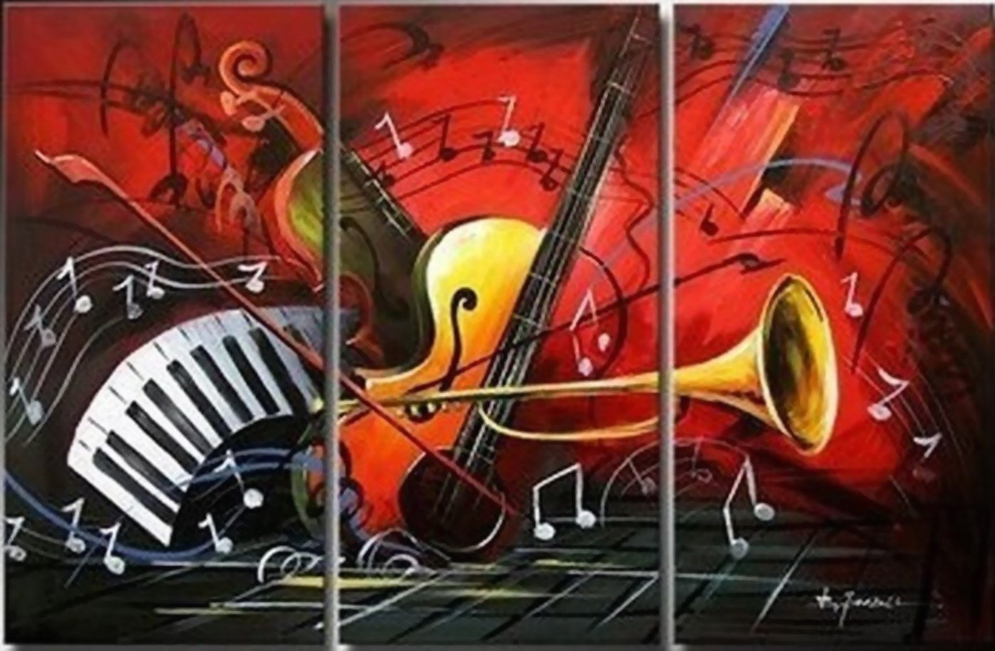Abstract Art, Red Abstract Painting, Bedroom Wall Art, Violin, Horn, Guitar Painting, Extra Large Painting