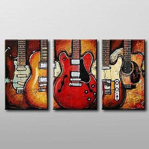 Abstract Art, 3 Piece Canvas Art, Red Abstract Painting, Electric Guitar Painting, Canvas Painting