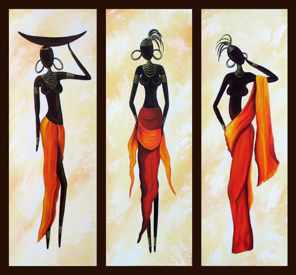 African Woman Painting, African Girl Art, Abstract Figure Art, Dining Room Abstract Painting