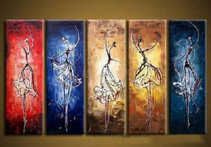 5 Piece Canvas Art, Ballet Dancer Painting, Dancing Girl Painting, Extra Large Canvas Art, Canvas Painting, Abstract Painting