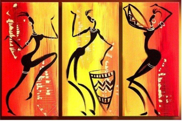 Bedroom Wall Art, African Woman Dancing Painting, African Girl Painting, Extra Large Art