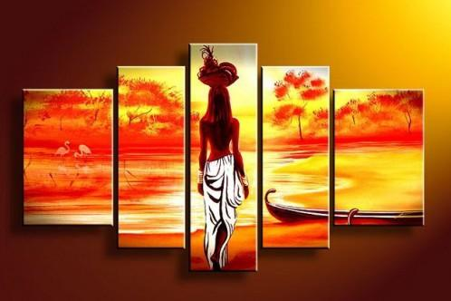 Abstract Art, African Girl Painting, Sunset Art, Extra Large Wall Art, African Woman Painting, Buy Art Online