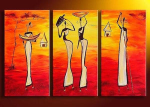 Bedroom Wall Art, African Woman Painting, African Girl Painting, Extra Large Art, 3 Piece Wall Art - Art Painting Canvas