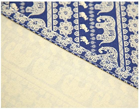 Blue / Red Elephant Pattern Rectangle and Round Tablecloth for Dining Table, Tea Table