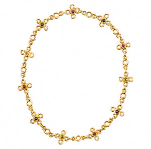 CHANEL- Gold and multi-color stone necklace