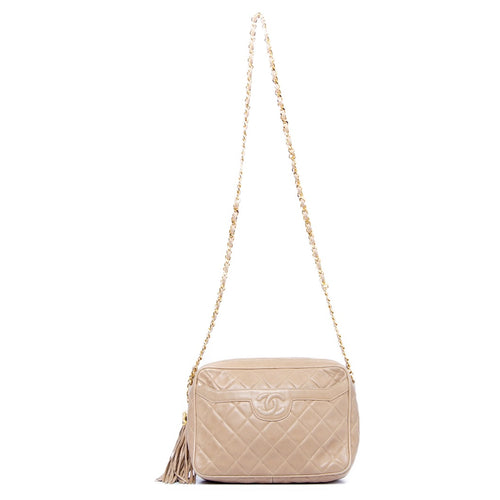 CHANEL - Chanel Quilted CC Fringe Chain Shoulder Bag