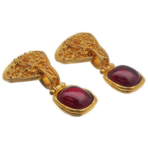 CHANEL - Gold Earrings with Stone