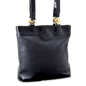 VERSACE - Leather Enamel Shoulder Tote Bag