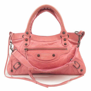 BALENCIAGA - Peach Pink Leather Bag