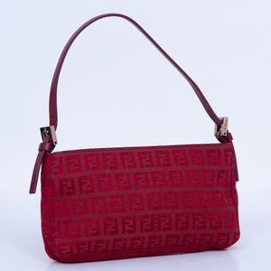 FENDI - Fendi Zucchino Burgundy Shoulder Bag