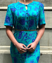 RAE JOSEPH - 1980s Floral Turquoise Dress