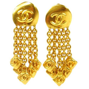 CHANEL -  Gold Fringe Earrings