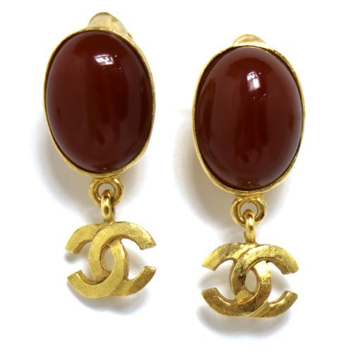 CHANEL - Gold and brown earrings