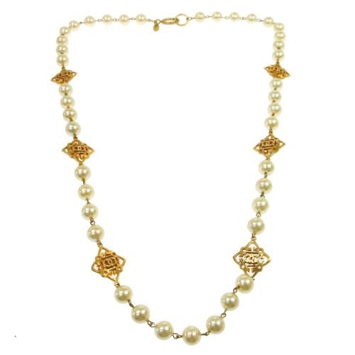 CHANEL - Gold Logo Pearly Necklace