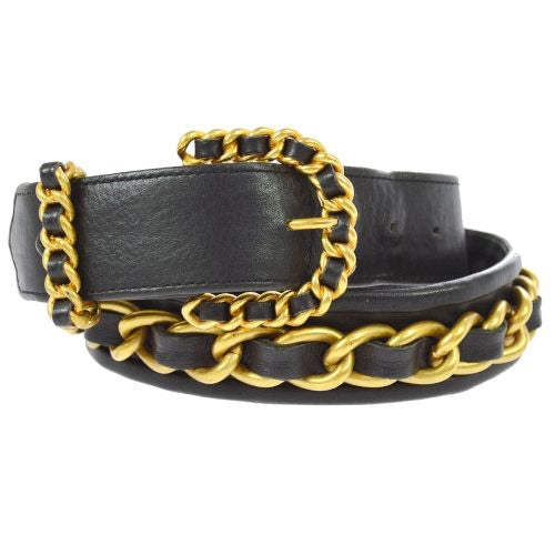 CHANEL - Leather Chain Belt