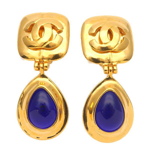 CHANEL - Gold Earrings w/ Blue Stone