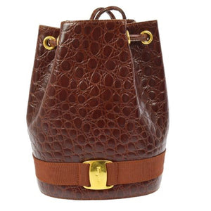 SALVATORE FERRAGAMO - Brown croc. backpack