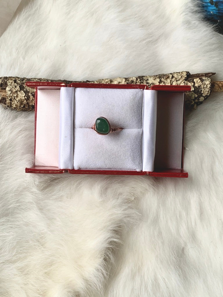 Aventurine Wrapped Copper Ring