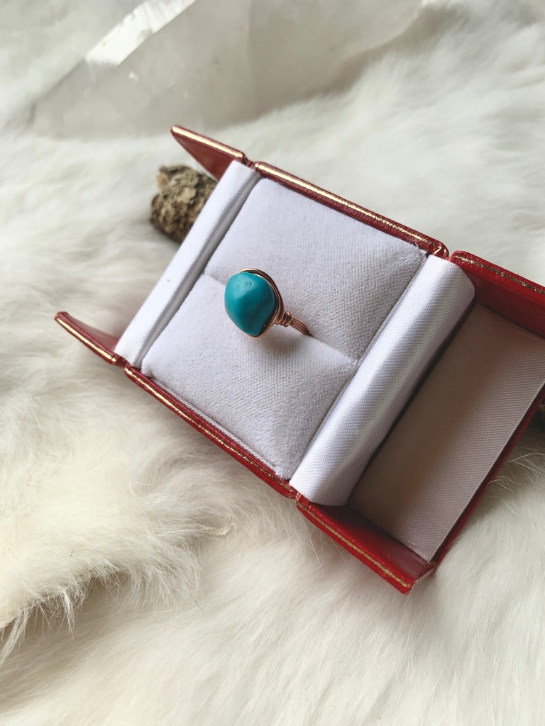Rounded Turquoise Copper Ring
