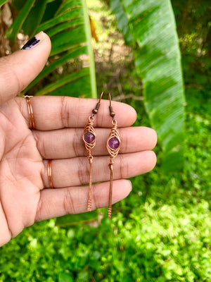 Harringbone Wrapped Amethyst Earrings