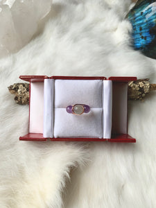 Amethyst Moonstone Wrapped Copper Ring