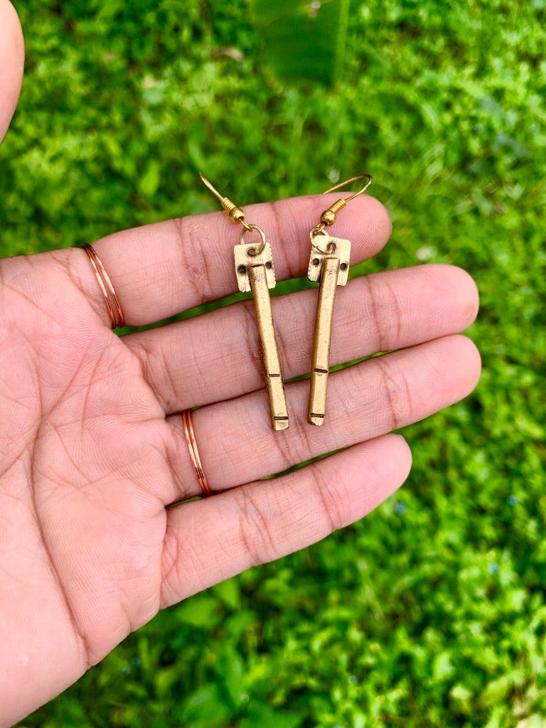 Solid Brass Dangle Earrings