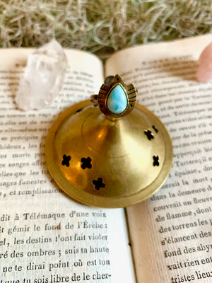 Shield of Fire and Ice Larimar Ring