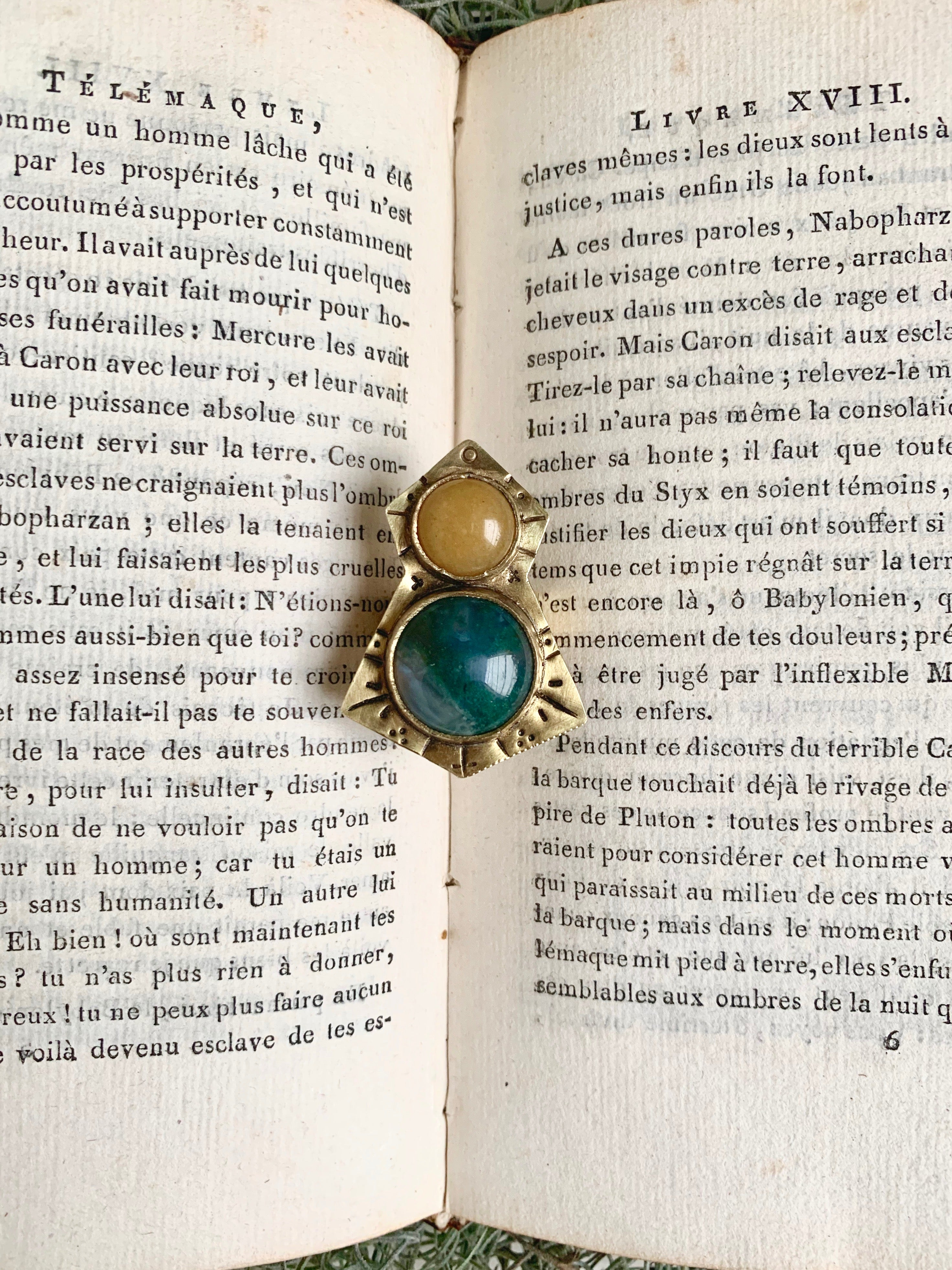 Yellow Aventurine and Moss Agate Double Stoned Ring