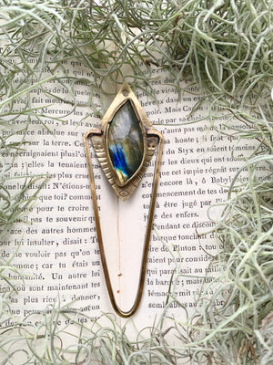 Labradorite Therefore Stay Vigilant Dropdown Necklace