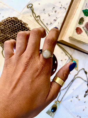 White Agate Balance and Release Ring