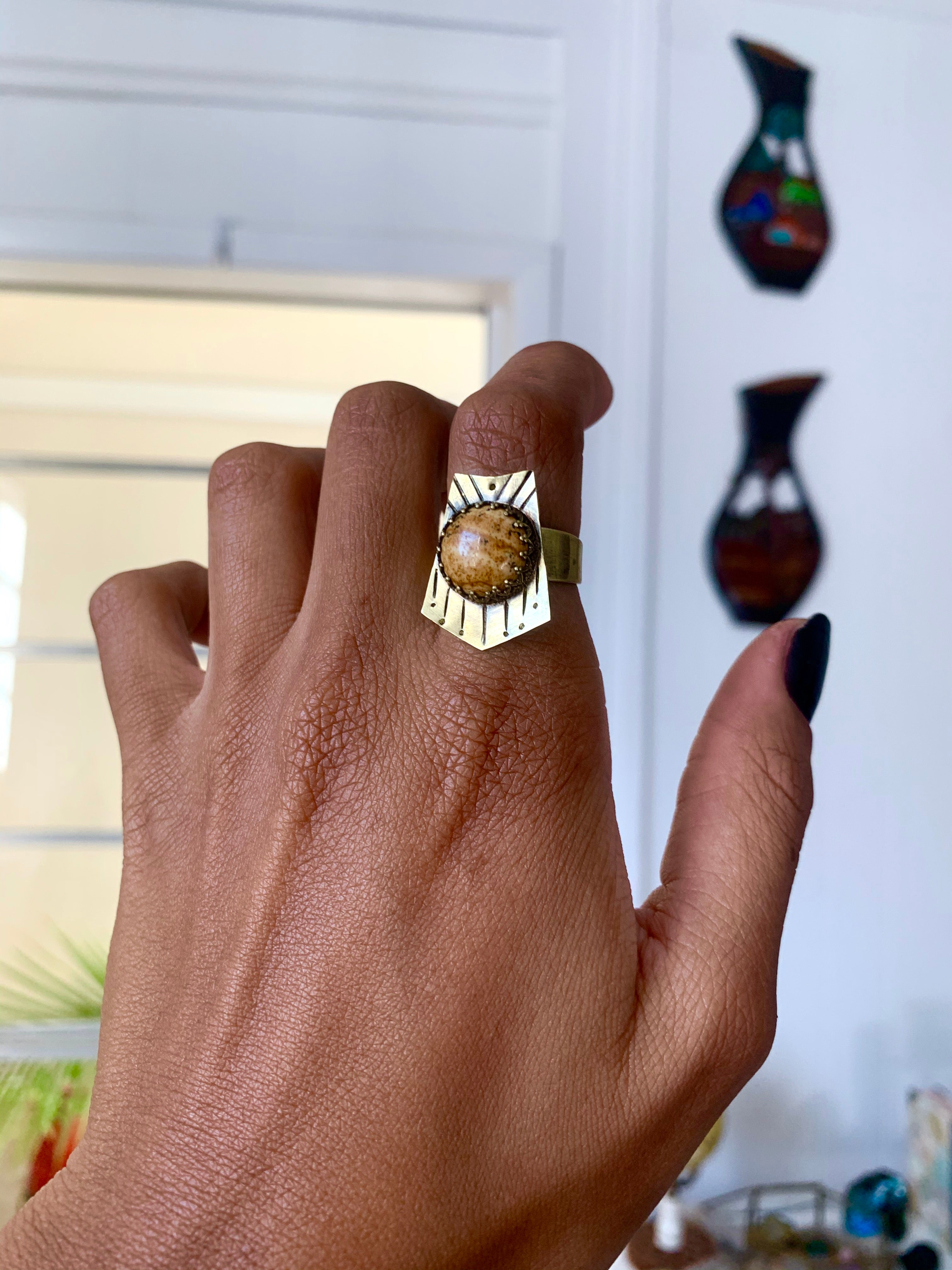 Catalyst to Earth Picture Jasper Ring