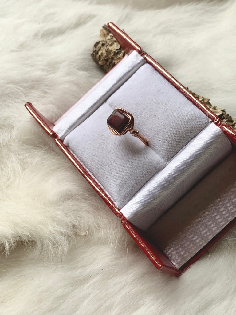 Square Red Jasper Wrapped Copper Ring