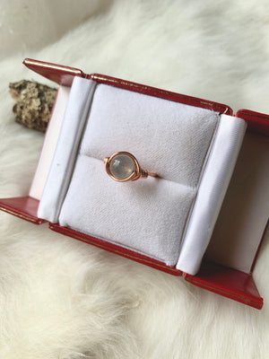 Moonstone Wrapped Copper Ring