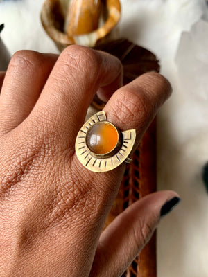 Carnelian Ray of Light Ring