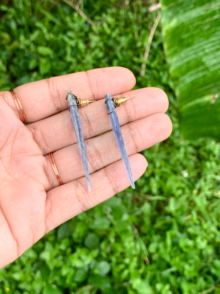 Raw Kyanite Stud Earrings