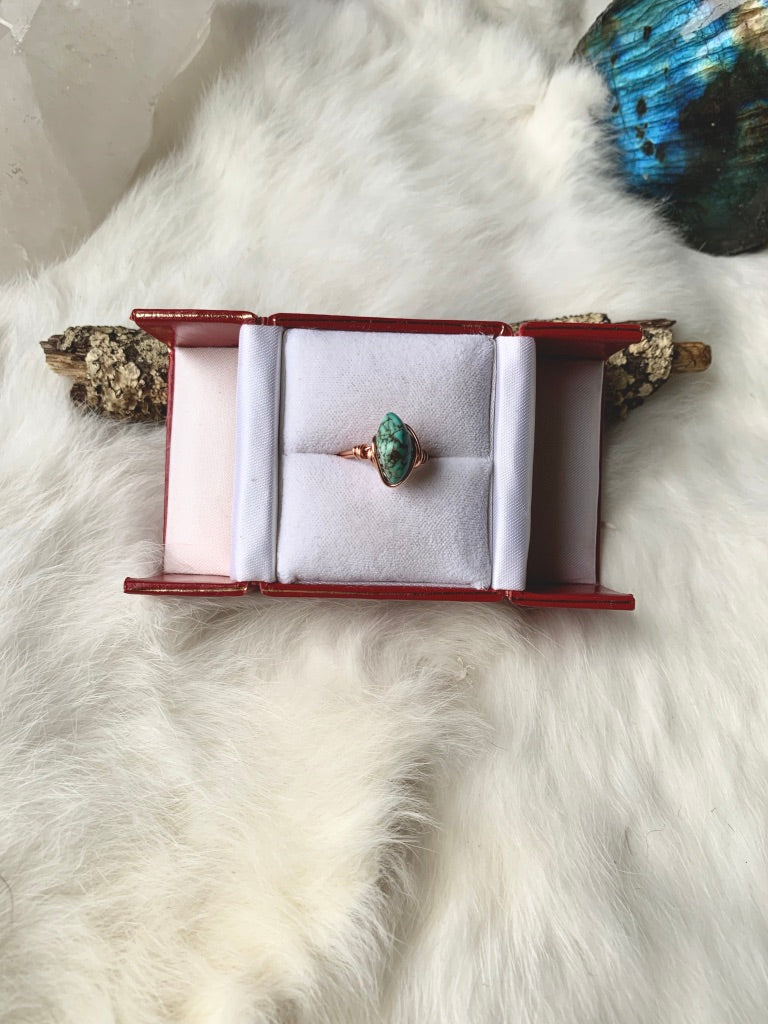 Turquoise Wrapped Copper Ring