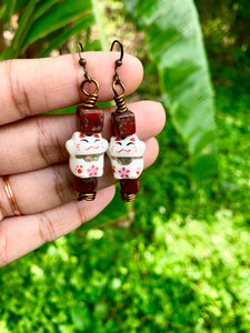 Red Jasper Kitten Earrings