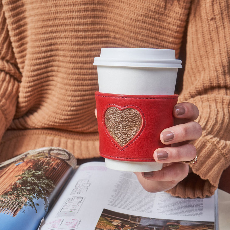 Heart Coffee Sleeve - Red