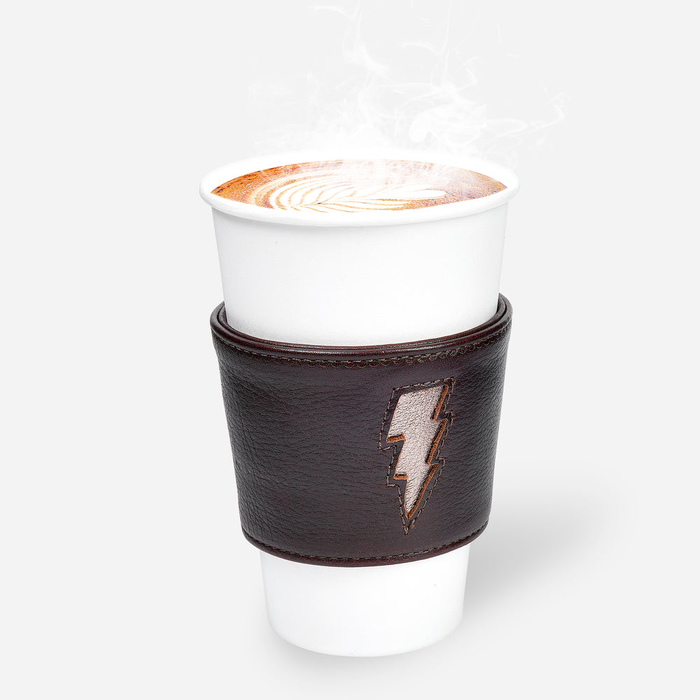 Lightning Coffee Sleeve - Tumbled Brown